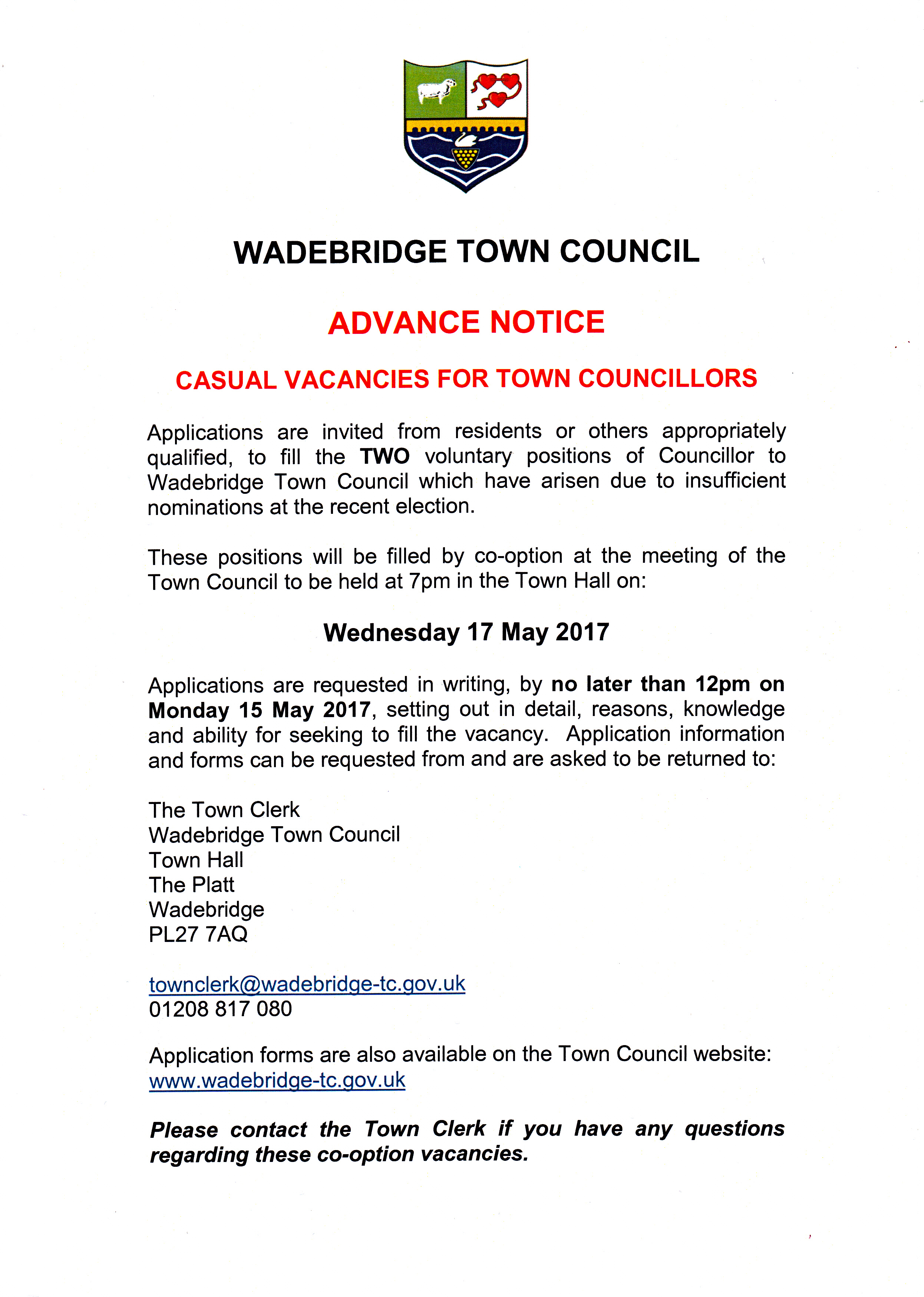 Casual Vacancies 2017