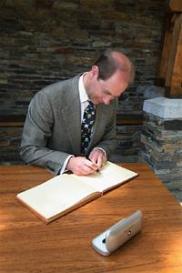 Earl of Wessex Signing visitors book