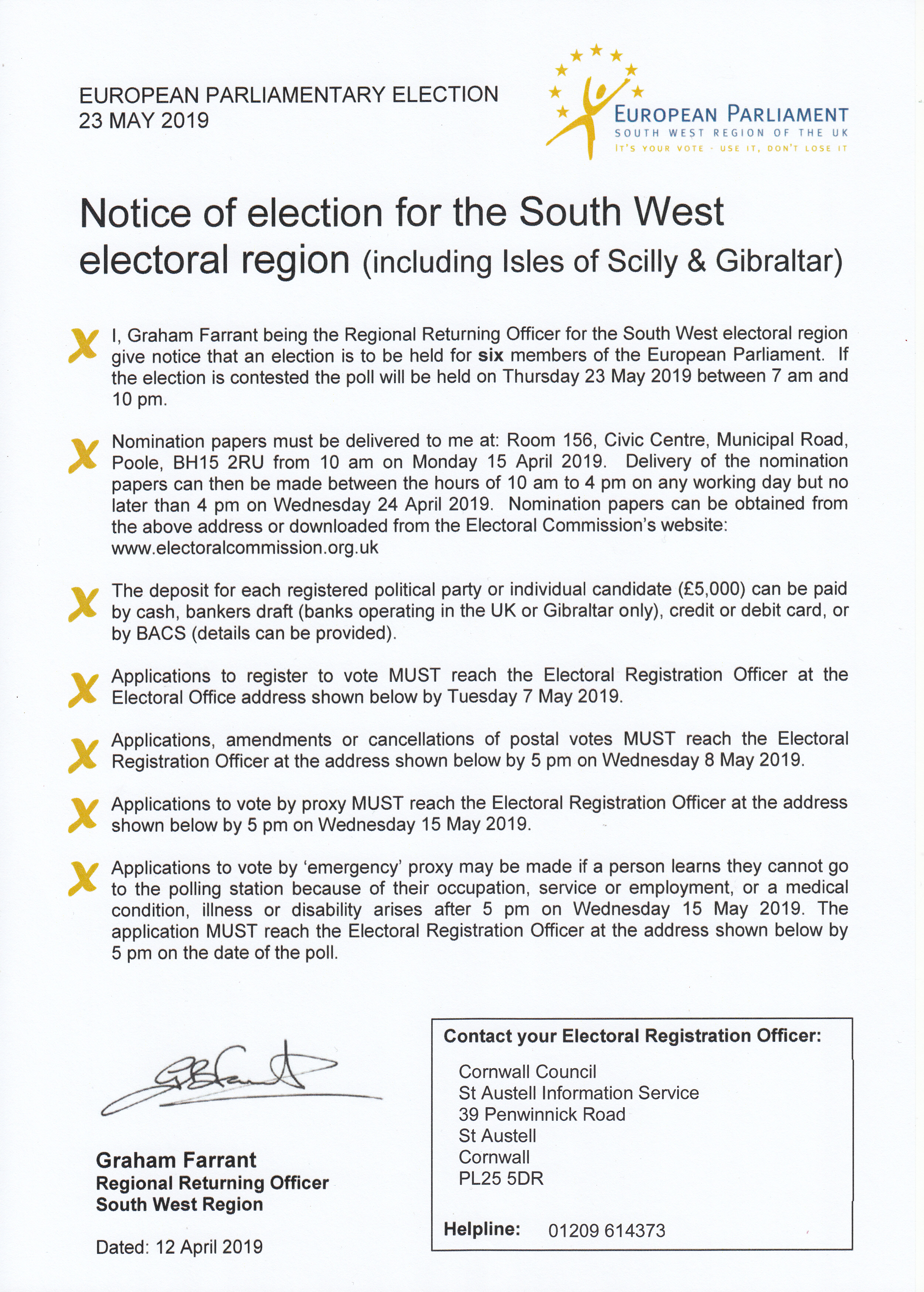 Notice of Election SW
